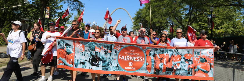 Unifor members at a rally in Canada