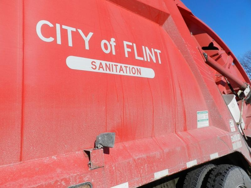 Garbage truck in Flint.