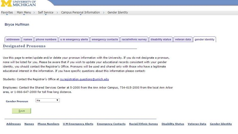 Screenshot of Wolverine Access, the university's website for students and faculty, showing the gender identity tab.