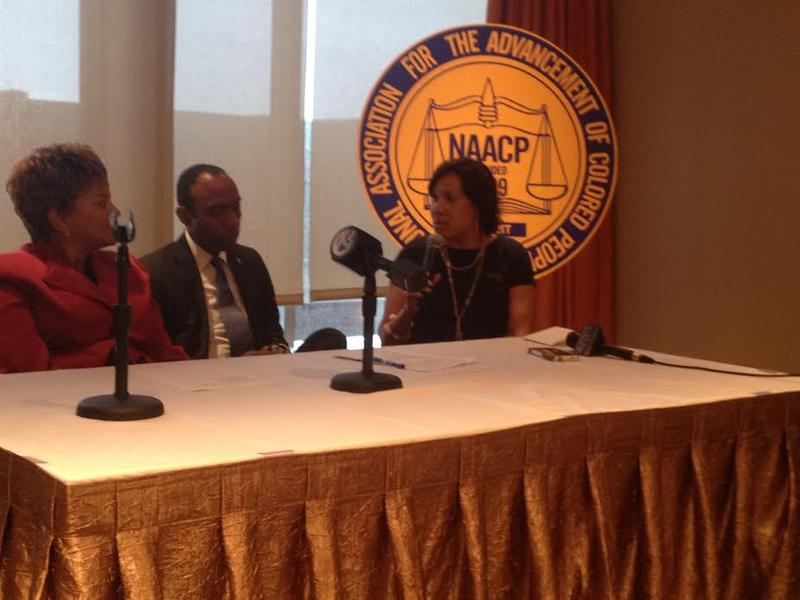 From left: Michigan NAACP President Yvonne White, national NAACP President Cornell Brooks, and Flint Mayor Karen Weaver.