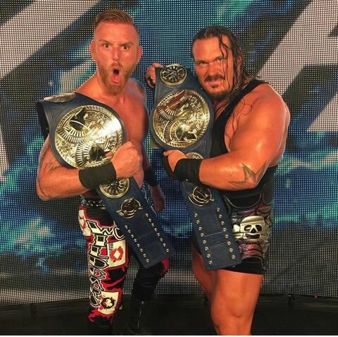 "Terrance Guido Gerin aka ""Rhino"" (right) and his partner Heath Slater after their WWE victory."