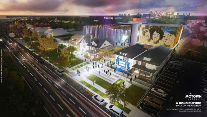 Conceptual Rendering of the Motown Museum Expansion from the street