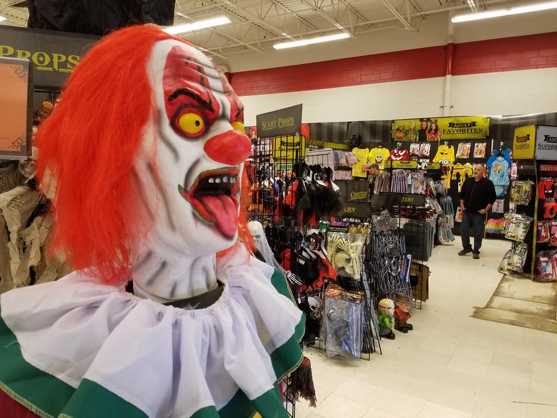 Surprisingly, clown masks have not been one of the more popular costumes at this Halloween store.