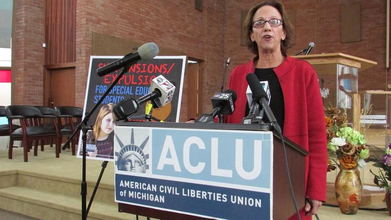 ACLU-Michigan executive director Kary Moss announces federal class action lawsuit calling for improvements to Flint's special education programs