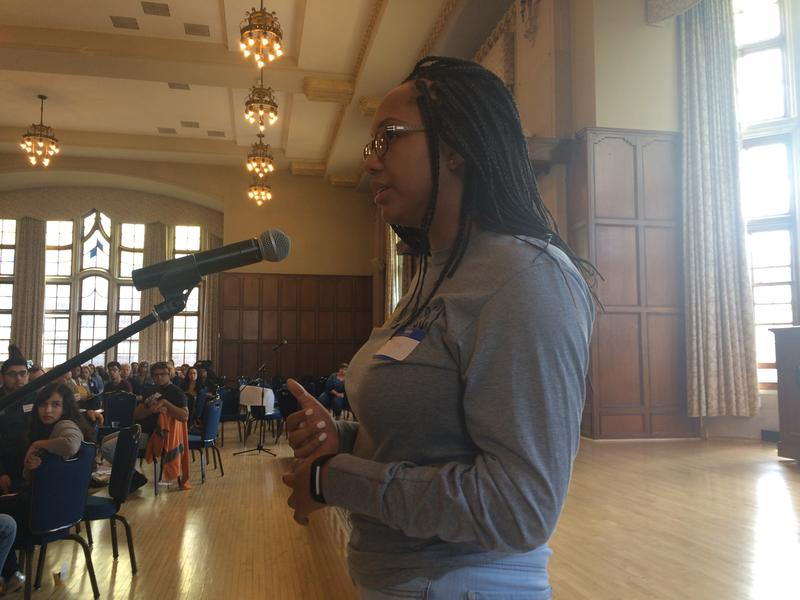 Lauren Ward at University of Michigan meeting about racist flyers