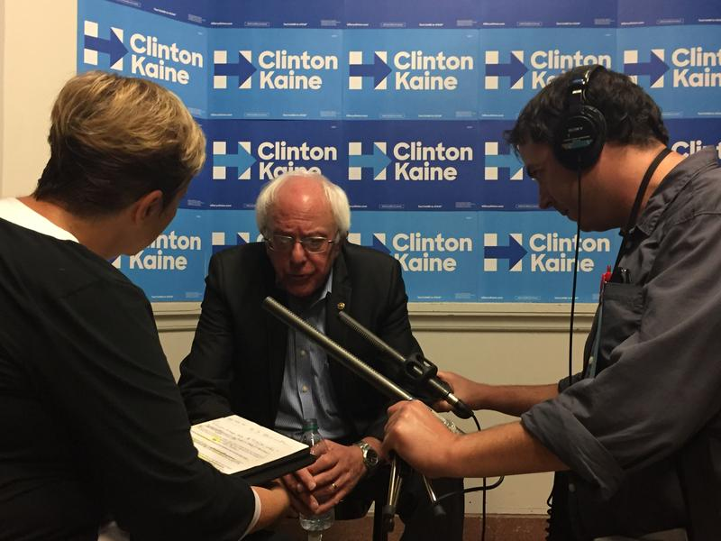 Michigan Radio's Cynthia Canty (left) interviews Senator Bernie Sanders (D-VT) with Stateside Executive Producer Joe Linstroth in Ann Arbor on October 6, 2016.