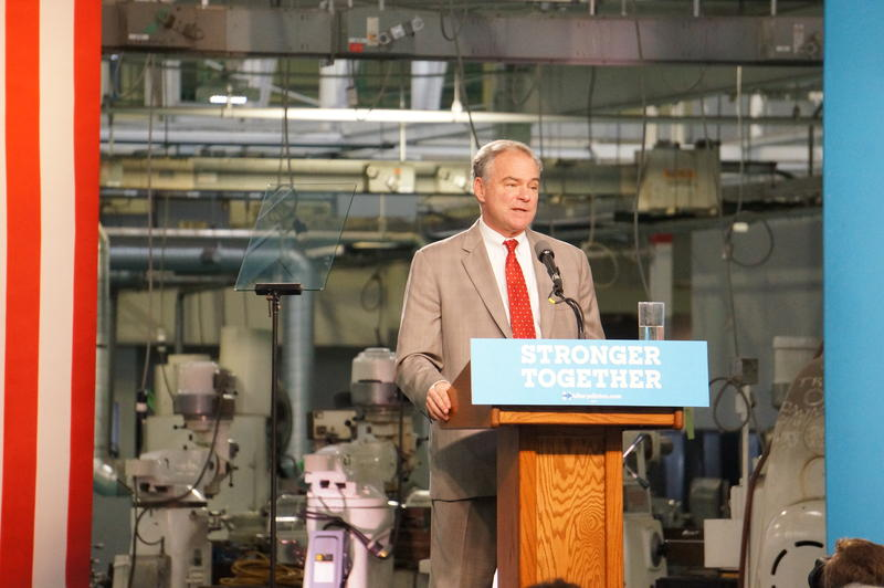 Democratic vice presidential nominee Tim Kaine in Detroit.
