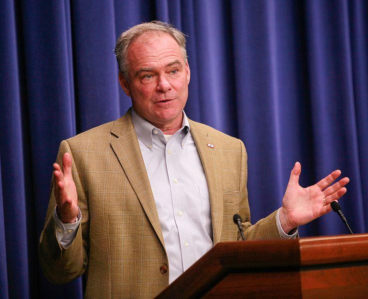 Democratic vice-presidential candidate Tim Kaine speaking earlier this year.
