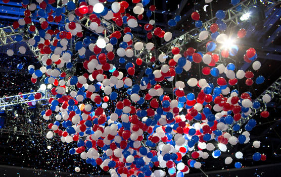 Balloons drop at the 2012 Republican National Convention.