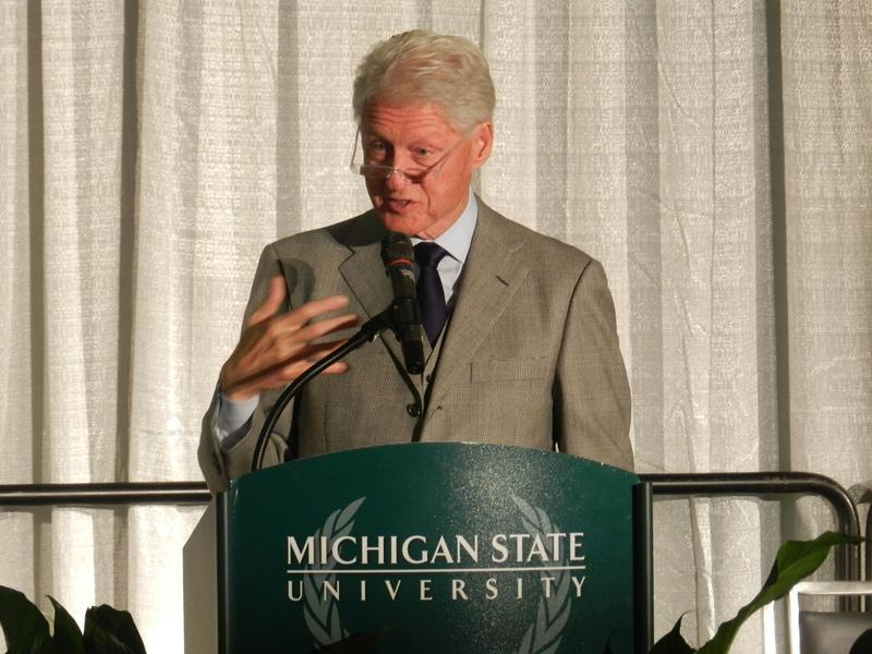 Fmr. Pres. Bill Clinton speaking at an event at Michigan State University