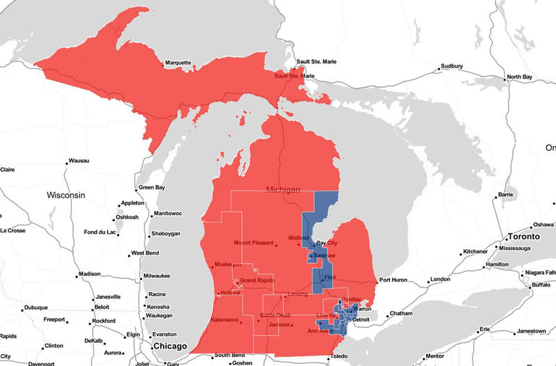 Map of Michigan's congressional districts. Red highlighted districts are currently represented by a Republican while blue highlighted districts are currently represented by a Democrat.