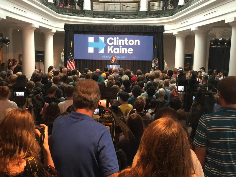 An overflow crowd showed up at the University of Michigan's Museum of Art to hear Senator Bernie Sanders speak on October 6, 2016