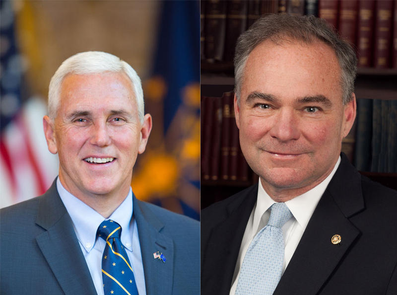Vice presidential candidates Republican Mike Pence (L) and Democrat Tim Kaine (R).
