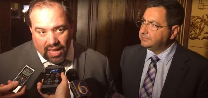 Senators Jim Ananich and Jim Stamas speak to the press after the committee released its recommendations.