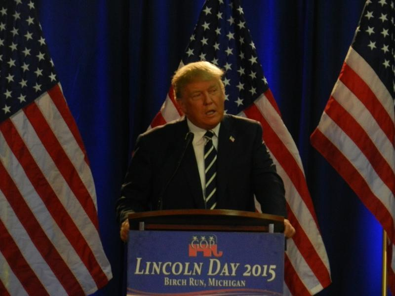 Republican presidential nominee Donald Trump (seen here campaigning in Birch Run)