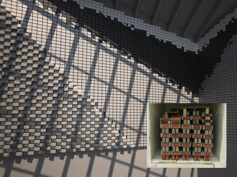 The interior of Afterhouse features a thermal mass wall made of glazed bricks.