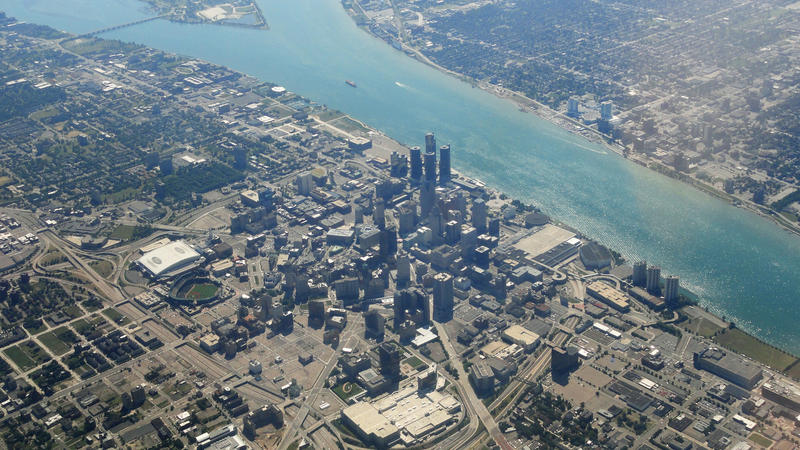 Aerial shot of Detroit