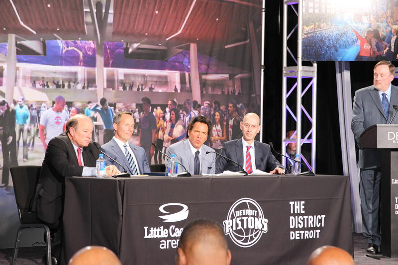 Seated left  to right, Detroit Mayor Mike Dugan, Illitch Holdings CEO Chris Illitch, Pistons owner Tom Gores, NBA commissioner Adam Silver