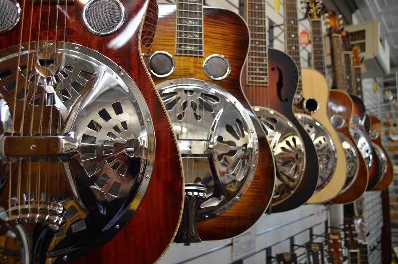 Steel guitars on display at Elderly Instruments in Lansing, Michigan.