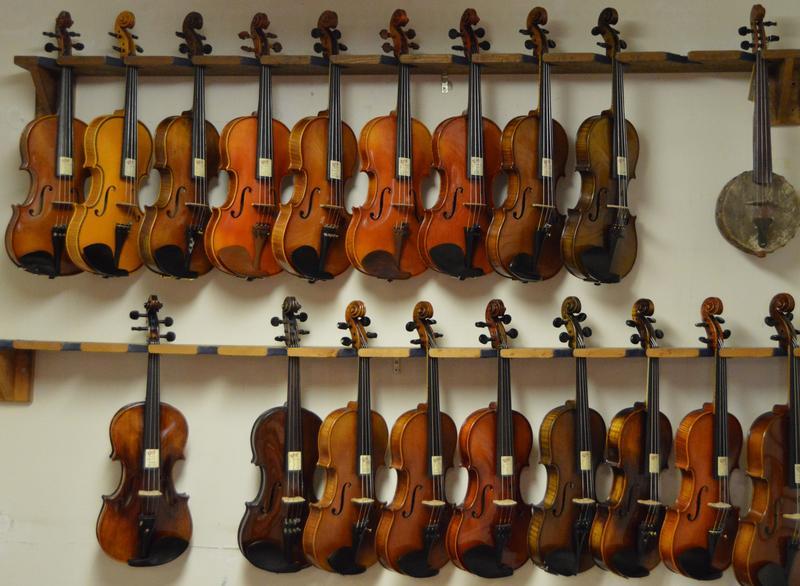 Violins and one ancient banjo.
