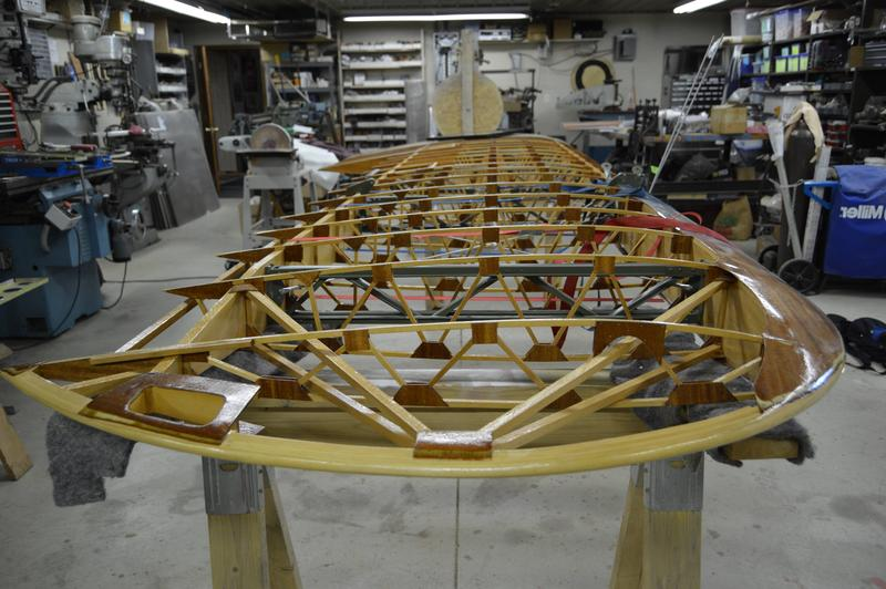 Here's the wood structure of the wing before canvas is applied. (This image is reversed to better compare to previous photo.)