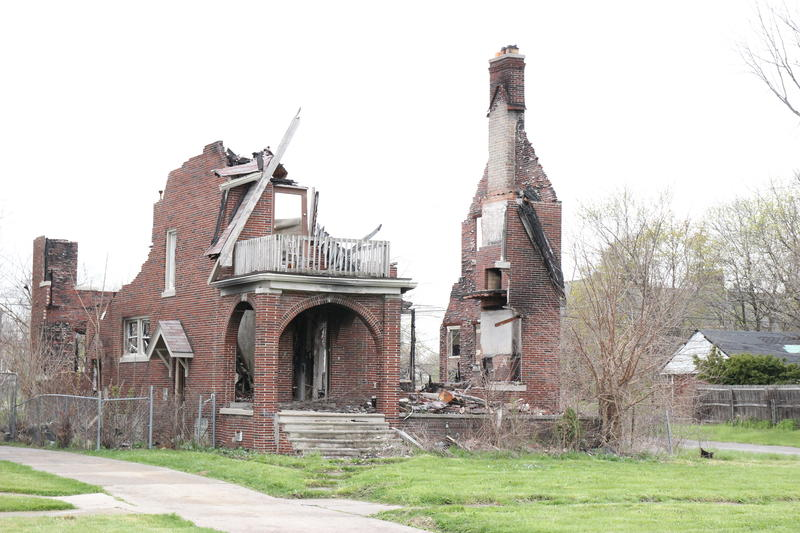 A burned-down home in Detroit.