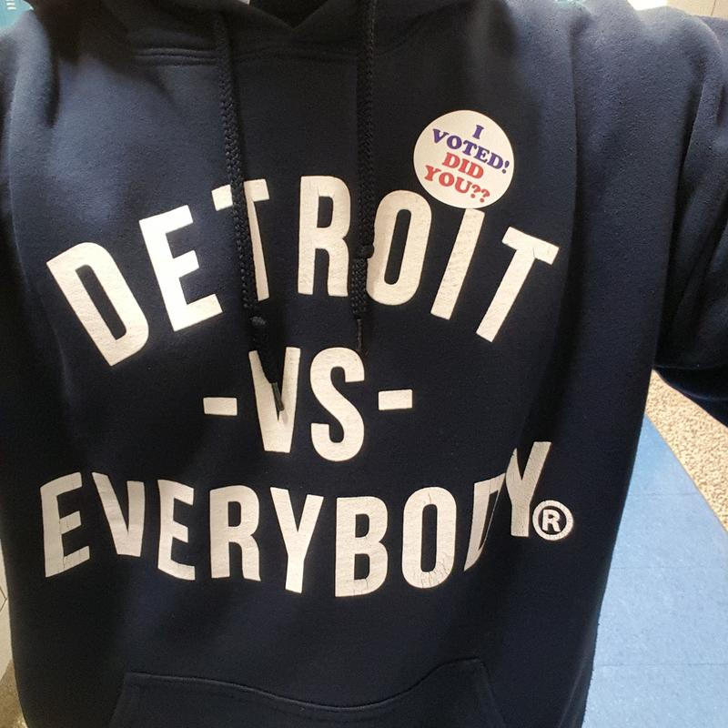 detroit vs everbody t shirt with i voted sticker