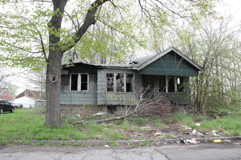 An empty home in a Detroit neighborhood.