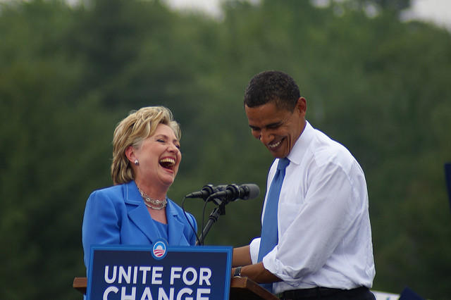 Hillary Clinton and Barack Obama in 2008.