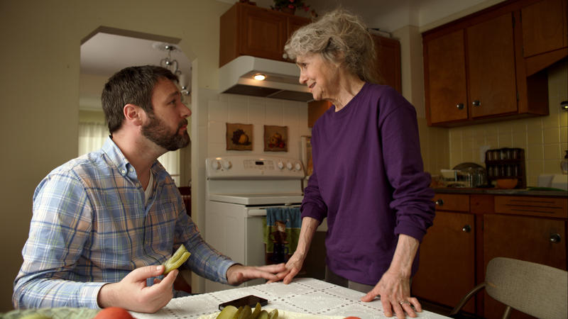 "Actors Jon Dore and Lynn Cohen play Joey and Grandma Rose in ""The Pickle Recipe"""