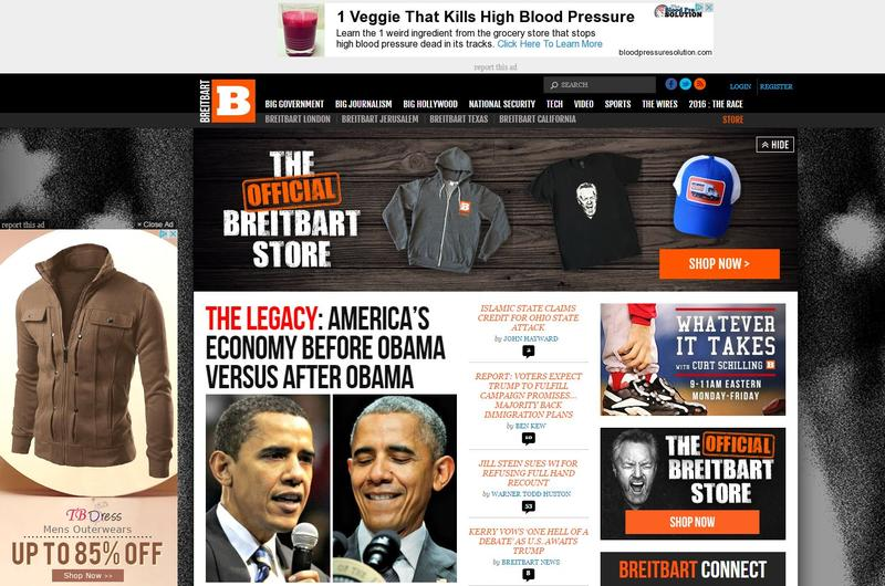 Screen shot of Breitbart.com on November 29, 2016.