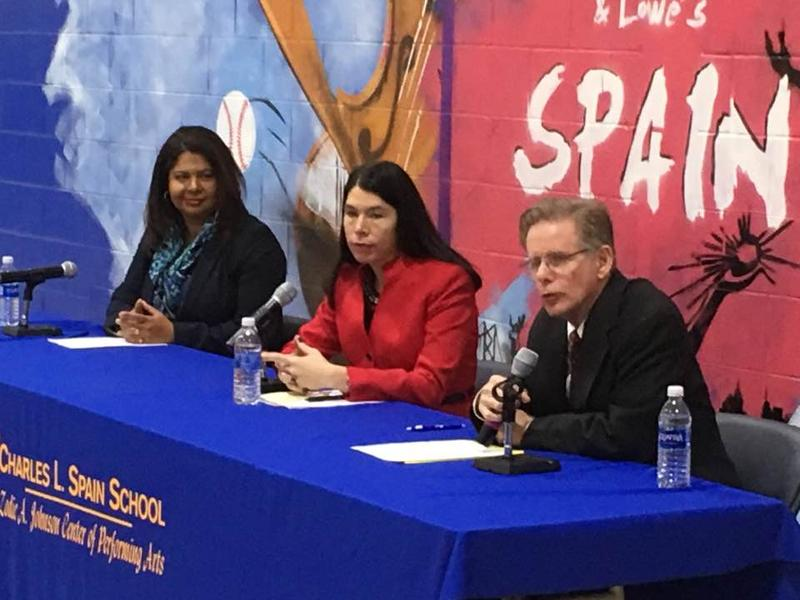 From left to right: EAA chancellor Veronica Confirme, DPSCD interim superintendent Alycia Meriweather, DPSCD transition manager Steven Rhodes.