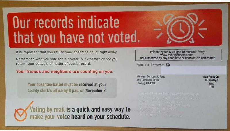 Postcards like this one were mailed out by the Michigan Democratic Party to urge voters to mail in absentee ballots.
