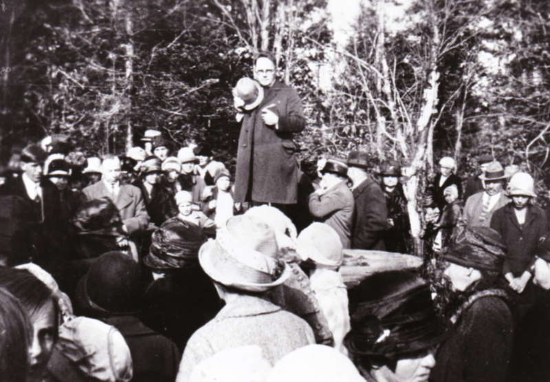 Memorial service at Barnes-Hecker Mine site. Reverend Hugo Hillila. (The Marquette Mining Journal reported that a community memorial service was held at the mine site on Memorial Day 1927).