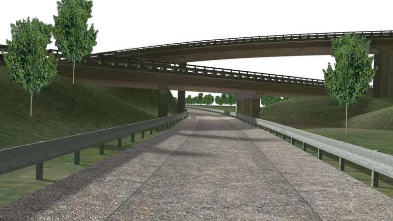 Computer rendering of overpasses at American Center for Mobility.