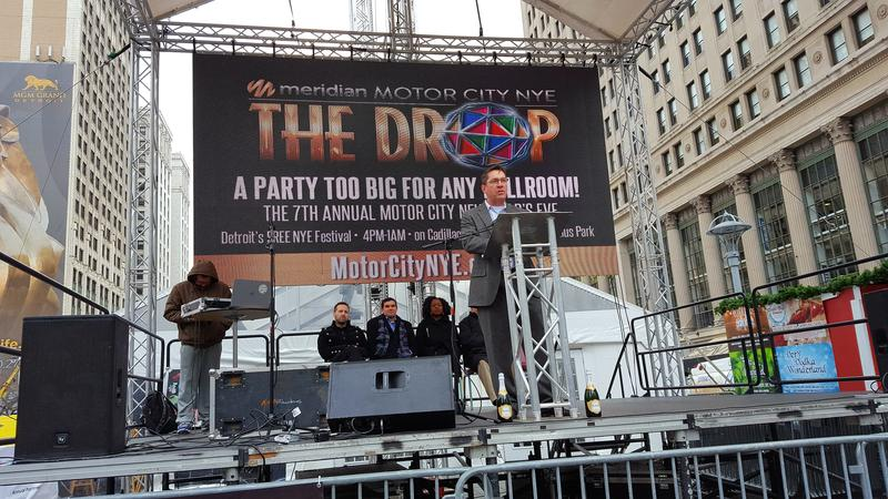 "Stage for ""The Drop"" New Year's Eve celebration at Campus Martius in Detroit."