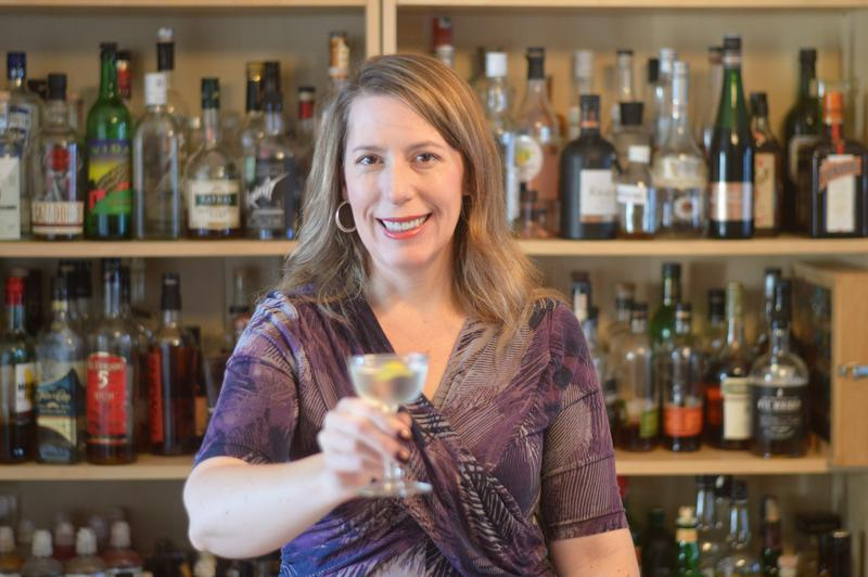 Tammy Coxen of Tammy's Tastings just finished mixing an FDR-style martini.