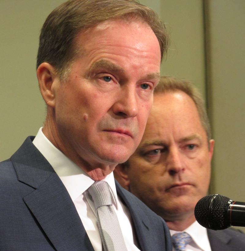 Michigan Attorney General Bill Schuette (left) and Special Counsel Todd Flood, along with Genesee County Prosecutor David Leyton and the Flint Water Investigative Team have been investigating the Flint water crisis for most of the year