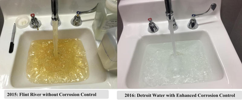 You see this picture on the left a lot. A new photo (on the right) demonstrates improvements in Flint.