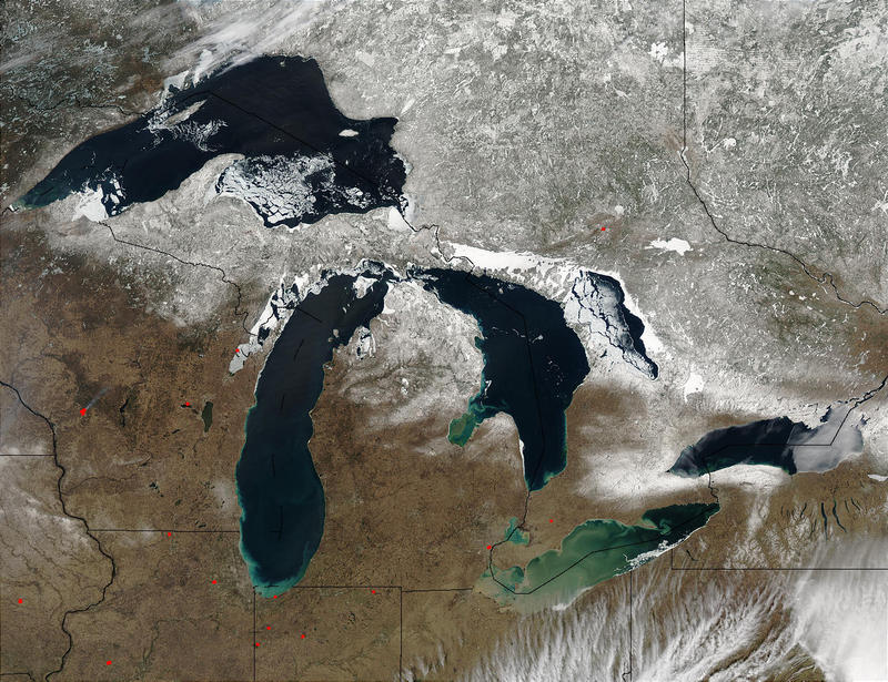 The Great Lakes from space in April 2003.