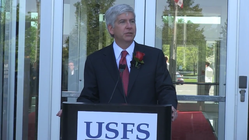Gov. Snyder speaks at United Shore Financial Services in 2013, when the company announced it was adding 600 new jobs.