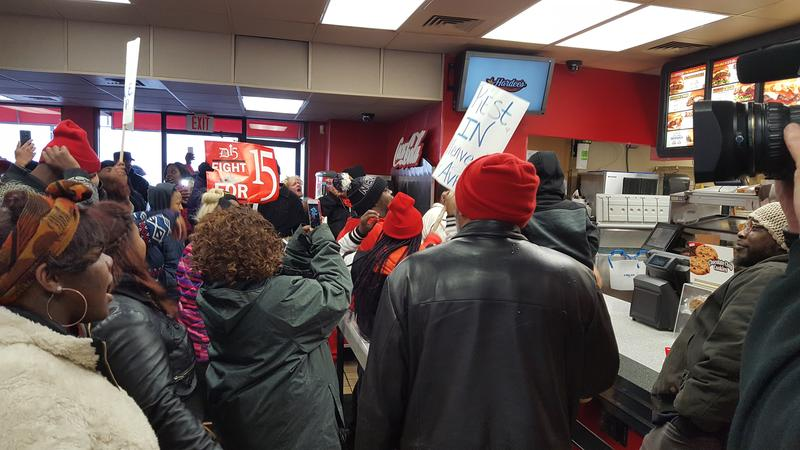 Detroit 15 protestors at Hardee's in Hazel Park, Michigan.