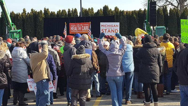 Michiganders rally at Macomb Community College in Warren to save the Affordable Care Act.