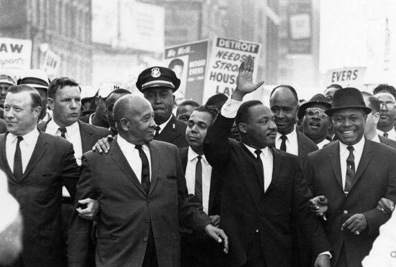 Rev. Martin Luther King marches down Woodward Ave. during the Walk to Freedom on June 23, 1963.