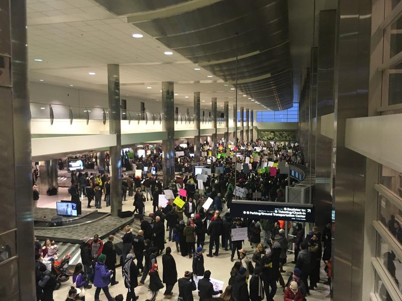 Protesters at Detroit Metro Airport on Sunday
