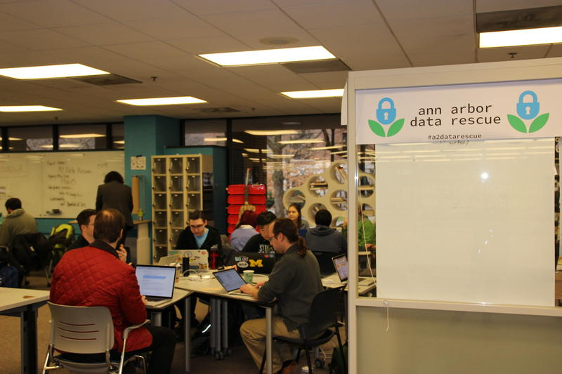 Volunteers at the Ann Arbor Data Rescue event.