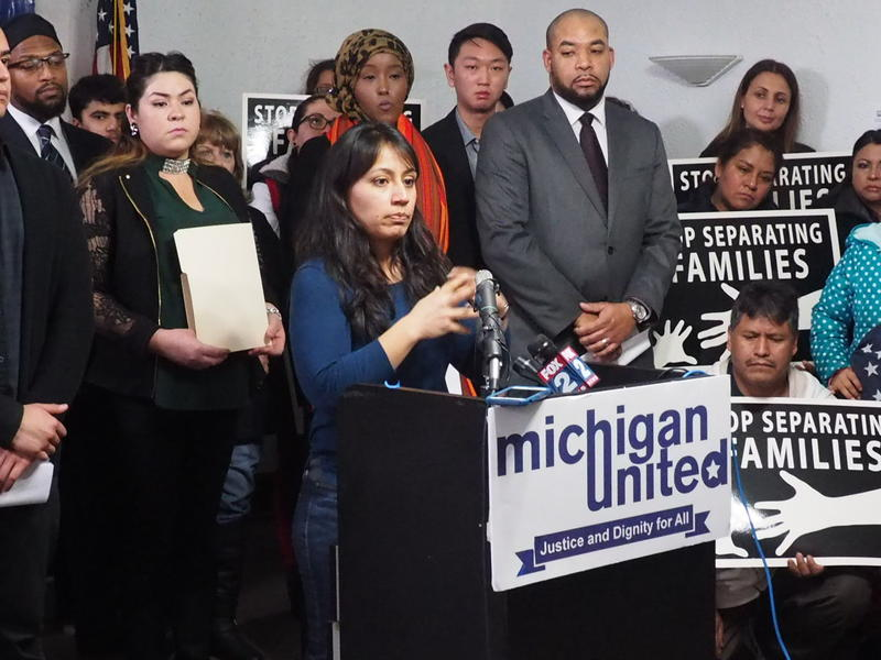 Detroit councilwoman Raquel Castaneda-Lopez speaking at Michigan United press conference about ongoing immigration issues.