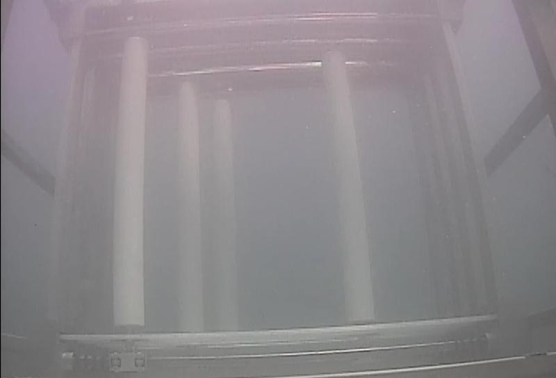 The VIVACE device as seen by an underwater camera