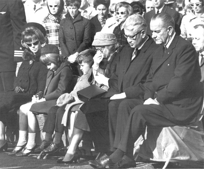 The Chaffee family during the January 31, 1967 burial services at Arlington National Cemetery.