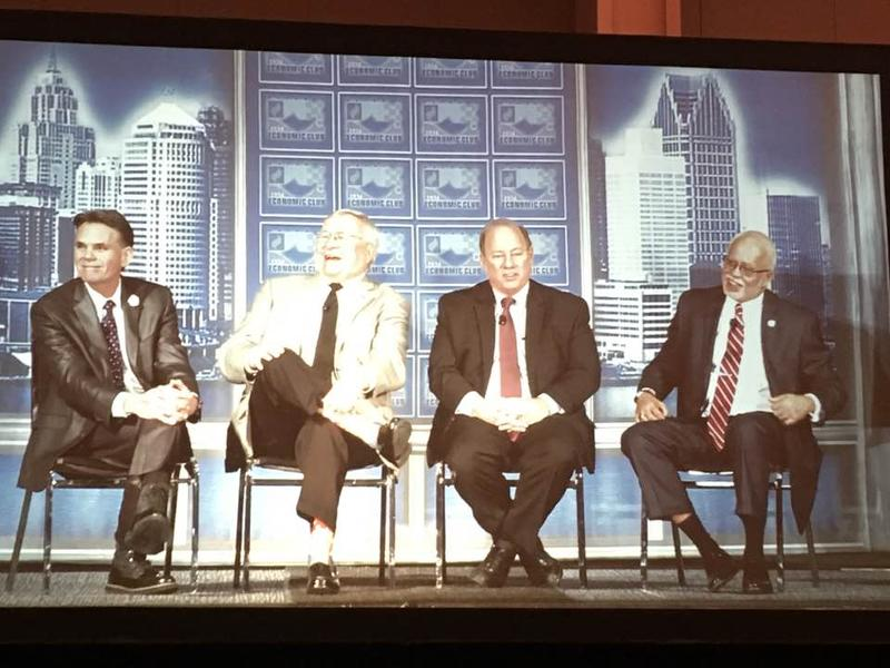 The Big 4 on the big screen at Cobo Center. Left to right: Mark Hackel, L. Brooks Patterson, Mike Duggan, and Warren Evans.